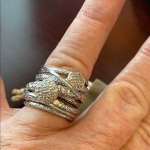 Effy Sterling Silver Diamond Ring Size 7